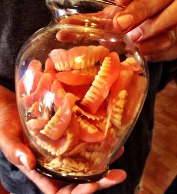 jar of dentures