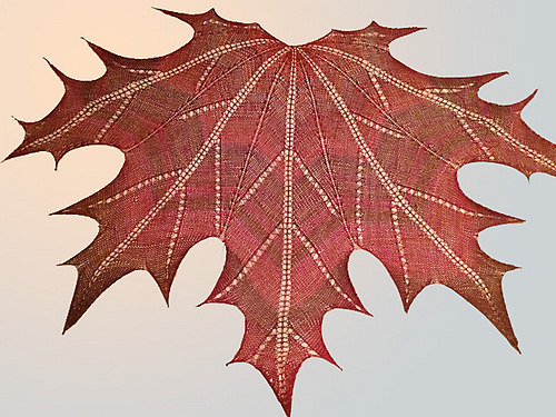 Maple leaf knit shawl