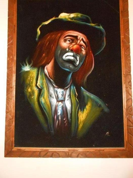 Sensitive Vintage Velvet Clown Painting