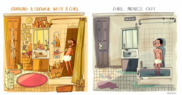 Difference between men and women showering
