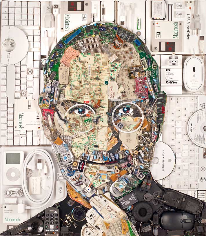 Art Jobs : A portrait of steve jobs made out apple e waste
