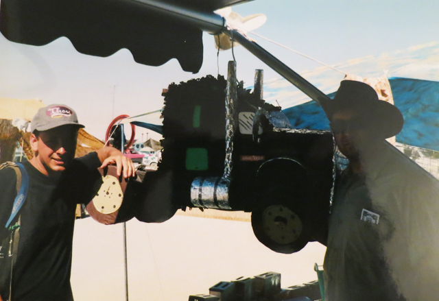 Scott Beale, Brody Culpepper, and a big rig pinata at Burning Man 1996