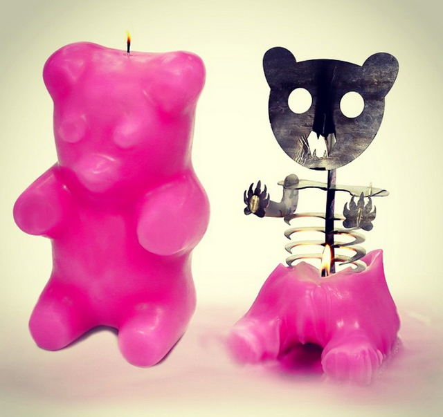 Giant Gummi Bear Candle Reveals A Skeleton When Melted
